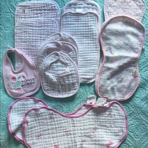 Burp cloth and bib lot, baby girl, VGUC